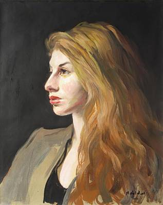 Painting - A Model With Flowing Red Hair by Robert Holden