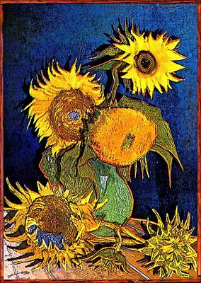 Sunflowers Drawings - A Modern Look at Vincents Vase with 5 Sunflowers by Jose A Gonzalez Jr