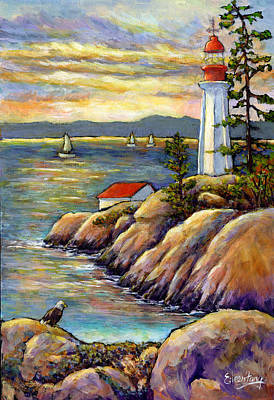 Lighthouse By The Ocean Painting - A Moment By The Sea by Eileen  Fong