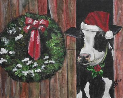 Painting - A Moo-rry Christmas by Kim Selig