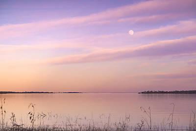 A Moon And Lake Somerville - Texas Art Print
