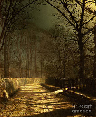 Tree-lined Painting - A Moonlit Lane by John Atkinson Grimshaw