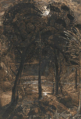 Moonlit Painting - A Moonlit Scene With A Winding River by Samuel Palmer