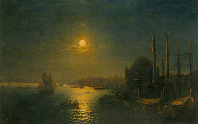 Sailing At Night Painting - A Moonlit View Of The Bosphorus  by Ivan Konstantinovich Aivazovsky