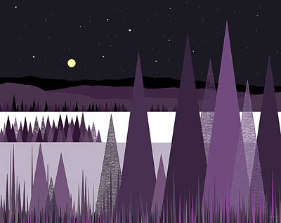 Digital Art - A Moonlit Winter Night II by Val Arie