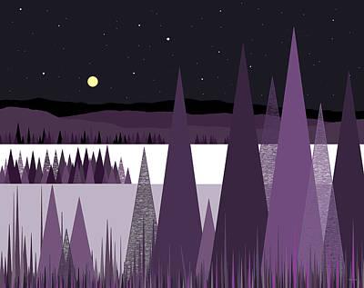 Winter Night Digital Art - A Moonlit Winter Night II by Val Arie