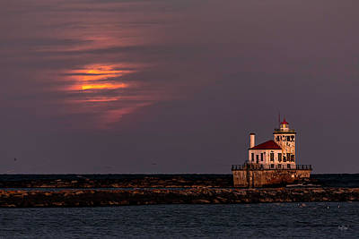 Supermoon Photograph - A Moonsetting Sunrise by Everet Regal