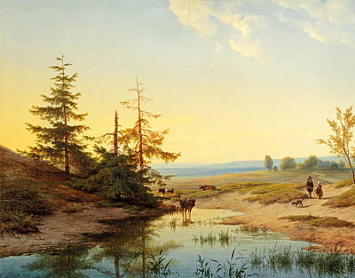 Cattle Dog Painting - A Moorland With Figures And Cattle By A Pond by Cornelis Lieste