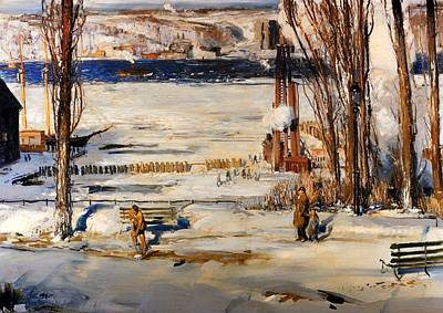 A Morning Snow - Hudson River Art Print