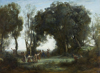 Exposed Painting - A Morning, The Dance Of The Nymphs by Camille Corot
