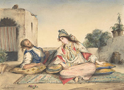 Drawing - A Moroccan Couple On Their Terrace by Eugene Delacroix