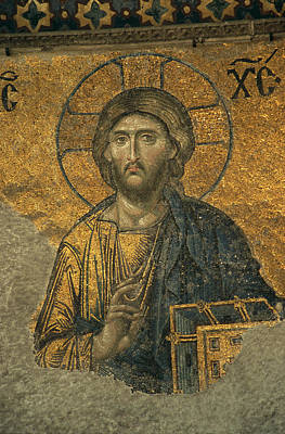 Religious Characters And Scenes Photograph - A Mosaic Of Jesus The Christ At St by Tim Laman