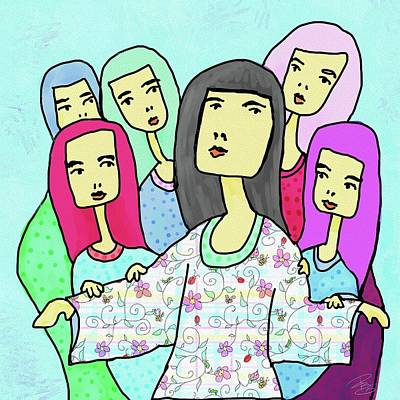 Digital Art - A Mother And 5 Daughters by Debra Baldwin