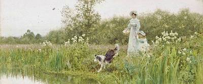 Lake Painting - A Mother And Child With Their Sheepdog by MotionAge Designs