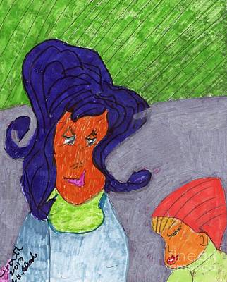 A Mother With Her Daughter Original by Elinor Rakowski