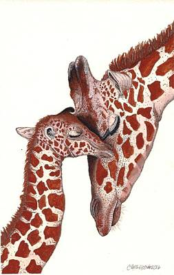 Mother And Baby Giraffe Painting - A Mother's Comfort by Chris Hoover