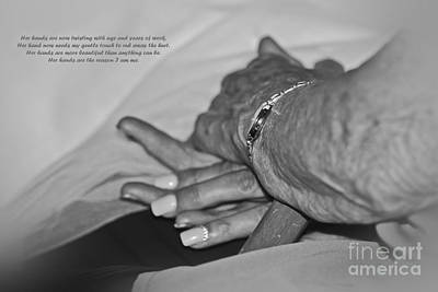 Photograph - A Mother's Hand Monochrome by Terri Waters