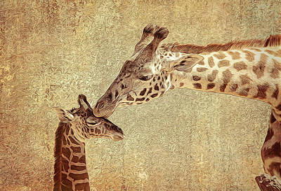 Photograph - A Mother's Kiss Painted by Judy Vincent