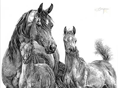 Mare And Foal Pencil Drawing Drawing - A Mother's Legacy by Elizabeth Sage