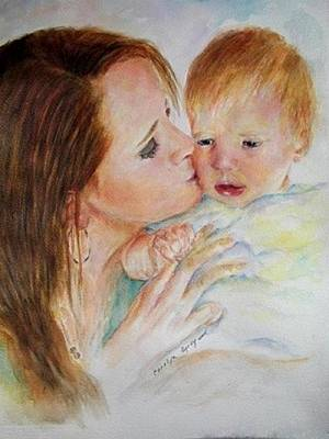 Crying Boy Painting - Mother - Child - Portrait - A Mother's Love by Carolyn Gray