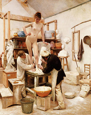 Artist At Work Painting - A Mould From Nature by Edouard-Joseph Dantan