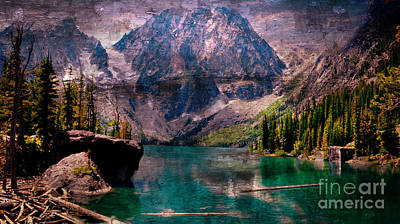 Digital Art - A Mountain Lake And Scenery by Rod Jellison