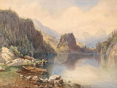 Altmann Drawing - A Mountain Lake by Anton Altmann the Younger
