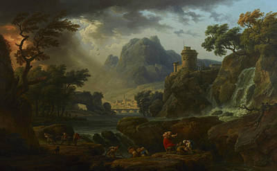 A Mountain Landscape With An Approaching Storm Art Print by Claude-Joseph Vernet
