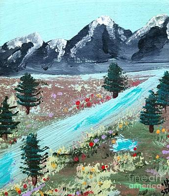 Ice Climbing Painting - A Mountain Meadow by Scott D Van Osdol