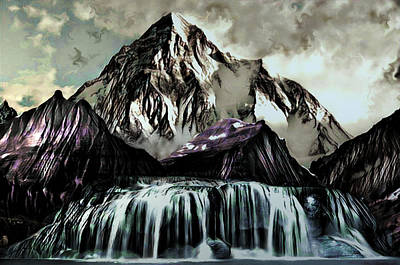 Digital Art - A Mountain To Think About by Artful Oasis