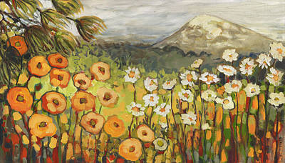 Orange Poppy Painting - A Mountain View by Jennifer Lommers