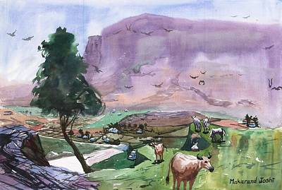 Maharashtra Painting - A Mountain With Cattle On A Plateau  by Makarand Joshi