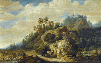 Painting - A Mountainous Landscape With Figures Walking Along A Path With A Horse And Cart by Joachim Govertsz Camphuysen