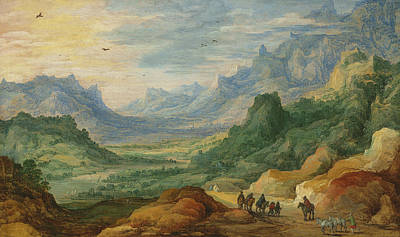 Donkey Painting - A Mountainous Landscape With Travellers And Herdsmen On A Path by Jan Brueghel and Joos de Momper