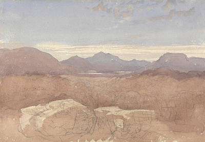 North Wales Painting - A Mountainous View, North Wales by David Cox