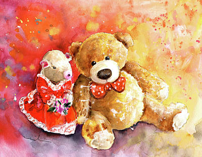 Painting - A Mouse And A Bear In Love by Miki De Goodaboom