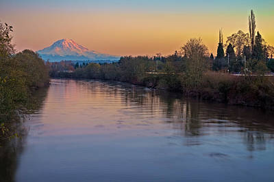 Photograph - A Mt Tahoma Sunset by Ken Stanback