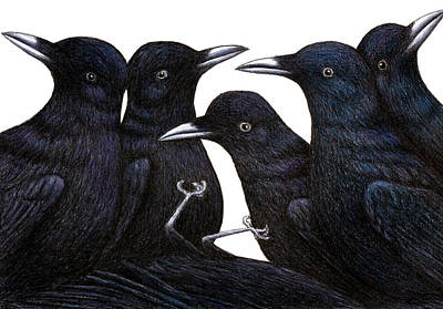 Whimsical Wildlife Drawing - A Murder Of Crows by Don McMahon