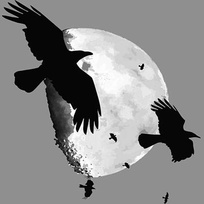 Digital Art - A Murder Of Crows Flying Across The Moon by Tracey Harrington-Simpson