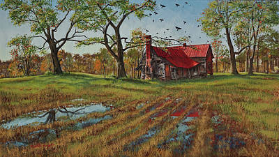 Egg Tempera Painting - A Murder Of Crows by Peter Muzyka