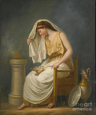 French School Painting - A Muse Seated With Two Doves by Celestial Images