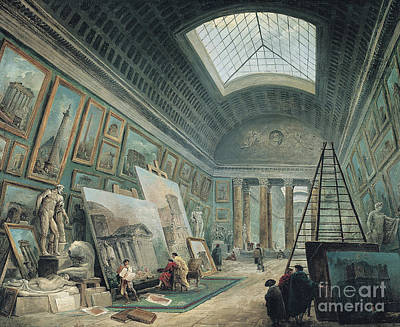 Perspective Painting - A Museum Gallery With Ancient Roman Art, Before 1800 by Hubert Robert