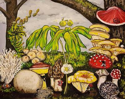 Mayapple Painting - A Mushroom Story by Alexandria Weaselwise Busen