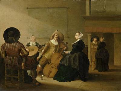 Painting - A Musical Company In An Interior by Celestial Images