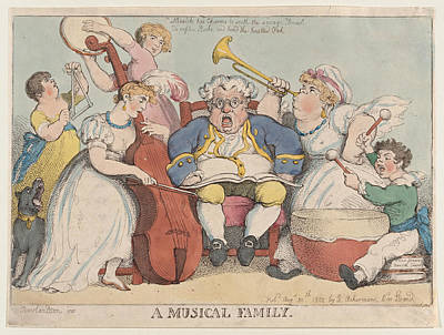 Drawing - A Musical Family by Thomas Rowlandson