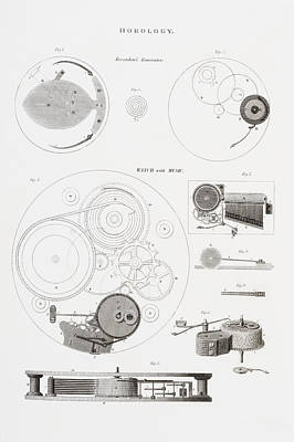 Mechanism Drawing - A Musical Watch By The Clockmaker by Vintage Design Pics