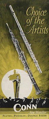 A Musician Playing A Charles Gerard Conn Flute Art Print by American School