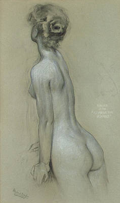 Sketch Drawing - A Naiad In The Lament For Icarus by Herbert James Draper