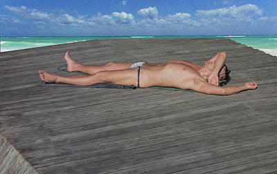 Lying Mixed Media - A Naked Man Is Sunbathing On The Beach. by Ivanoel Art