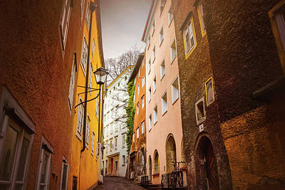 A Narrow Street In Salzburg  Art Print by Carol Japp